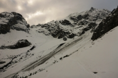 von der Berglerhütte sieht man die Tour bis zum Beginn der Eisrinne