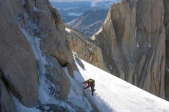 Vom Col de los Areicanos sind es nochmal 2 nicht wirklich leichte Seillängen zum Einstieg. Endlich da!