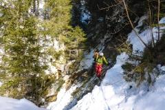 Bis man auf den Forstweg kommt dem man nach links ins Skigebiert folgt