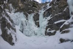 Bis zum Amphitheater ists gerade gutes Eis  und feines stapfen. Wasser fliesst nicht viel bis  gar keines