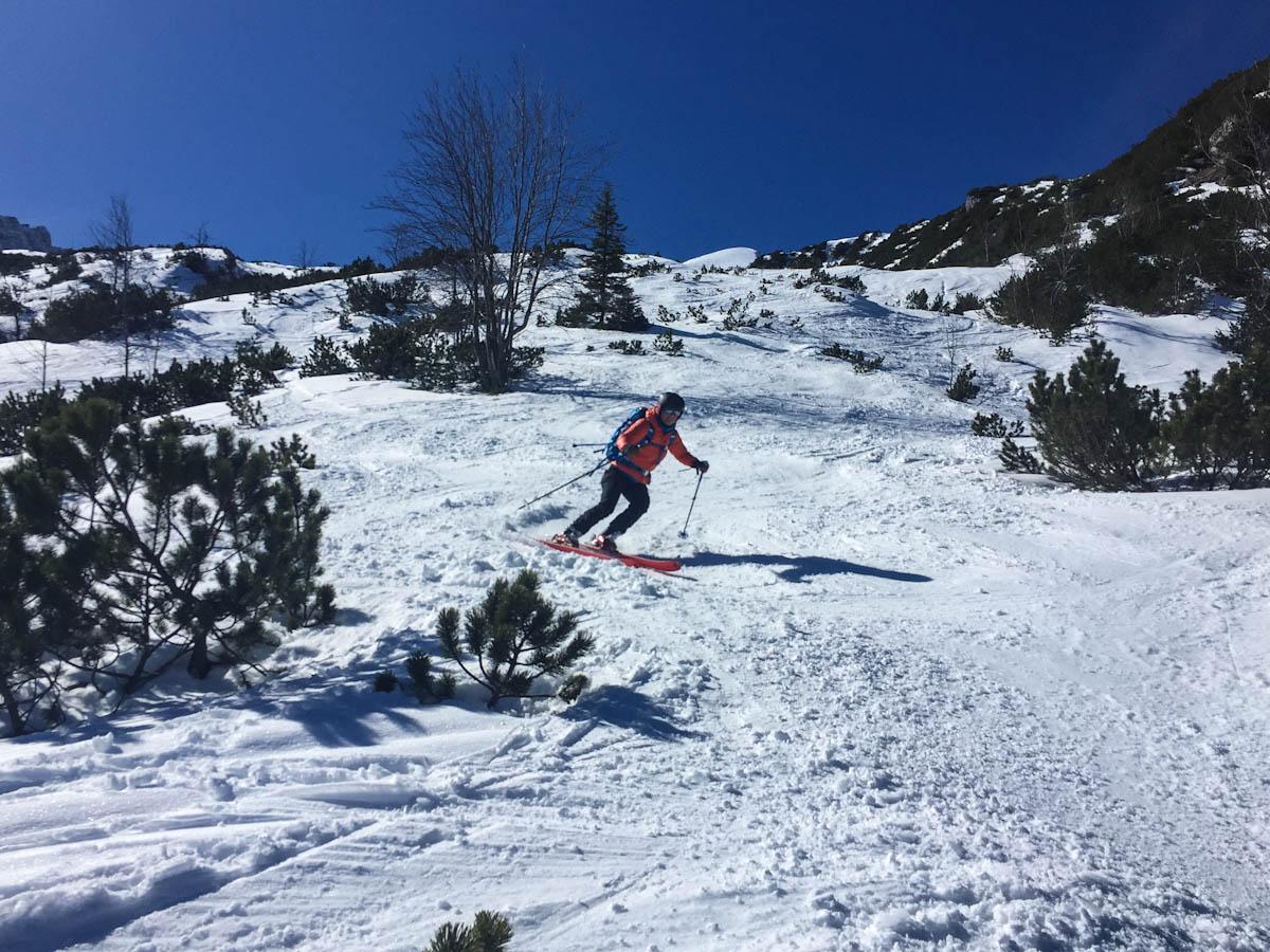 unten rutschts gut raus zurück ins Skigebiet