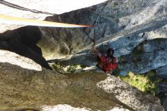 Die erste Länge ist eigentlich nur eine Boulderstelle. Trotzdem schwer:)
