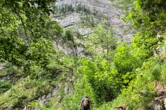 Der Zustieg zu den Routen am Übeleck ist gut markiert und führt ziemlich steil bis ganz zuletzt durch den Wald
