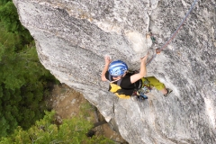 """Verena in """"Groove"""", Lower Buttress, Lovers Leap"""