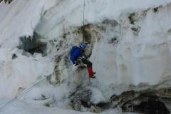 Zuletzt noch über den ordentlichen Bergschrund zurück auf den Glacier du Geant