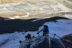 wir wählen den Klettersteig (B, 100hm) um auf den Gletscher zu gelangen. Der Sexegertenferner ist nahezu komplett verschwunden