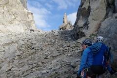 Aufstieg von der Allievi-Hütte zum Passo di Zocca.