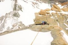 Im Felsteil dann schon ne ganze Ecke anspruchsvoller. Viel Schnee, viel Eis. Die erste Länge noch mit Steigeisen, den Rest mit Bollerschuh