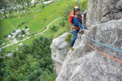 Kurz vor ende der 10. Länge. Die letzte Länge weist nochmal ein Boulderproblem auf das wir aber rechts umgangen haben.