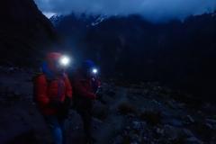 Gipfelversuch Maparaju - auf 5050 m (am Gletscher) kehren wir um (Gipfel in Wolken)