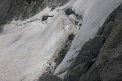 letztes Problem: der Bergschrund. Ganz schön gross das Ding