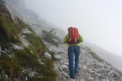 Ein recht nebliger Start, obwohl wir so lange wir konnten zugewartet haben blieben wir fast bis zum Gipfel in der Suppe...kalt!